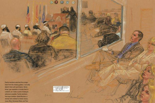 Des membres des familles de victimes des attentats... (Illustration Janet Hamlin)