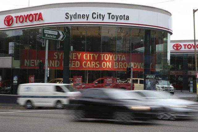 Un concessionnaire Toyata à Sydney.... (Photo Rick Rycroft, AP)