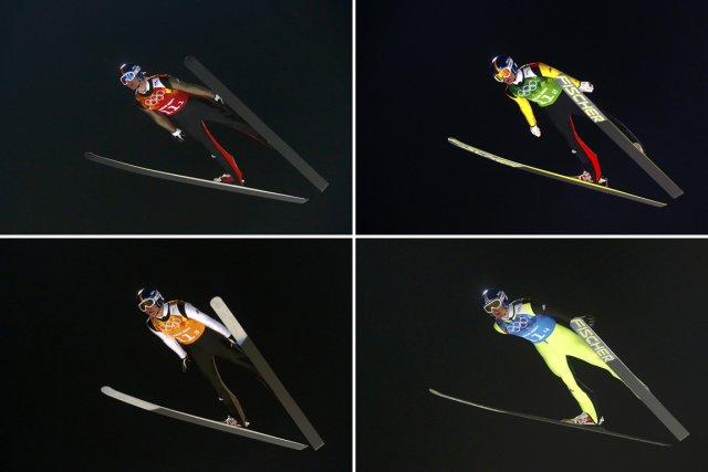 L'équipe allemande de saut à skis formée d'Andreas... (Photo Michael Dalder, Reuters)