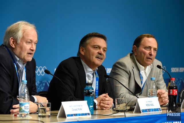 Donald Fehr, René Fasel et Gary Bettman... (Photo Bernard Brault, La Presse)