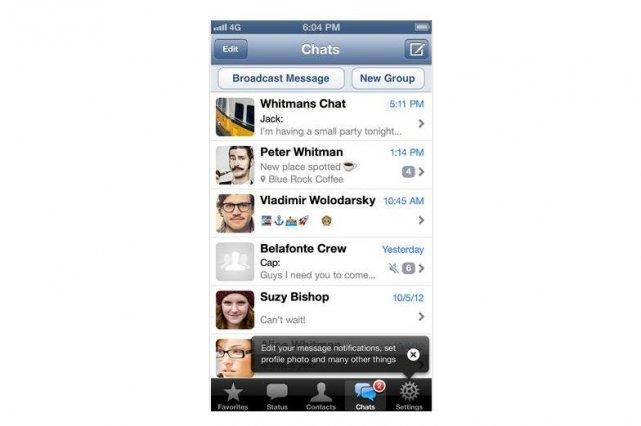 WhatsApp est l'une des applications de messagerie instantanée... (Photo Apple)