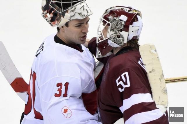 Carey Price (31) a félicité son adversaire, Kristers... (Photo Bernard Brault, La Presse)