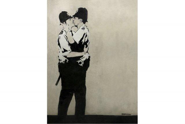 Une oeuvre de l'artiste-graffiteur britannique Banksy s'est envolée hier pour... (Photo: AP)