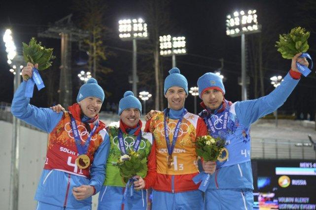 Alexey Volkov, Evgeny Ustyugov, Dmitry Malyshko et Anton... (Photo ALBERTO PIZZOLI, AFP)