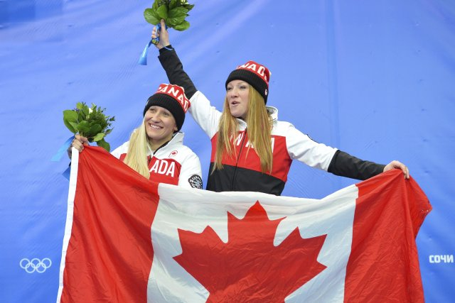 Les Canadiennes Kaillie Humphries et Heather Moyse ont... (Photo Agence France-Presse)