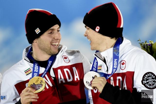 2014 - Aux Jeux de Sotchi, les Québécois Alexandre Bilodeau et Mikaël Kingsbury... (Photo Bernard Brault, La Presse)