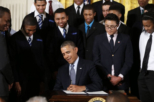 Le président Obama dévoilait aujourd'hui, à la Maison-Blanche,... (Photo Kevin Lamarque, Reuters)