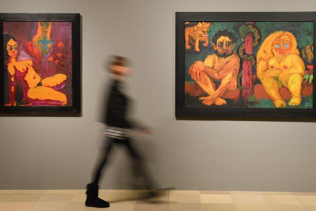 Les tableaux Ecstasy et Lost Paradise d'Emil Nolde.... (Photo: AFP)