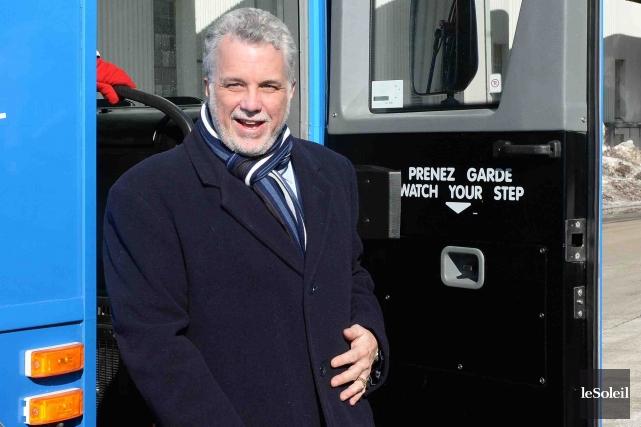 Le chef du Parti libéral du Québec et candidat dans Roberval, Philippe... (Photo Éric Labbé, Le Soleil)