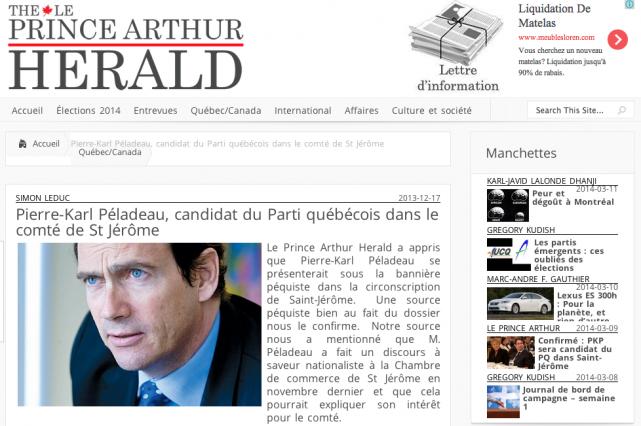 L'article duPrince Arthur Herald de décembre dernier.... (Capture d'écran)