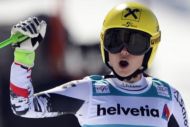 Deuxème du super-G jeudi, l'Autrichienne Anna Fenninger s'est... (Photo Fabrice Coffrini, AFP)