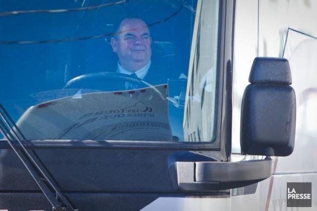 L'autobus de la CAQ.... (Photo André Pichette, La Presse)