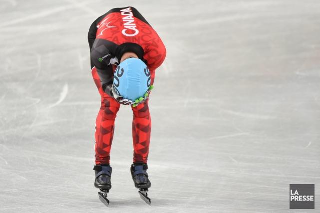 François Hamelin après sa chute en demi-finale du... (Photo Bernard Brault, La Presse)