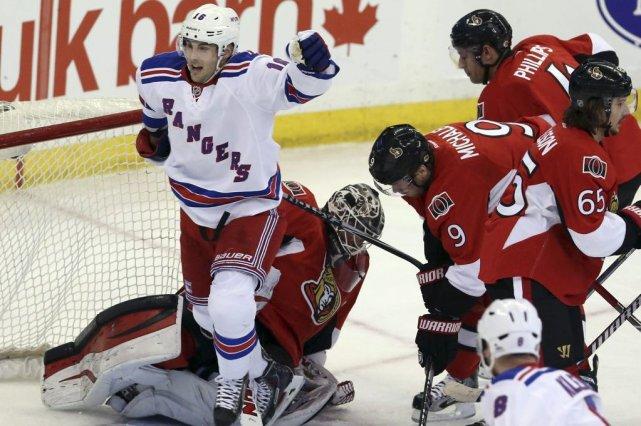Les Rangers de New York ont marqué quatre fois en deuxième, en route vers une... (Photo: PC)