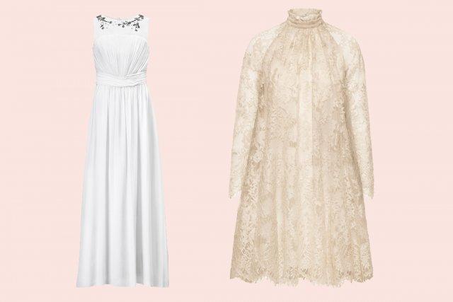 À gauche, la première robe de mariée H&M.... (Photos fournies par H&M)