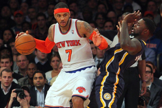 Carmelo Anthony (à gauche) a inscrit 34 points... (Photo Brad Penner, archives USA Today)