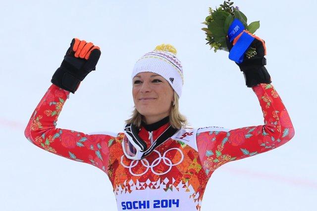 L'Allemande Maria Höfl-Riesch a remporté la médaille d'or... (Photo Alexander Klein, archives AFP)