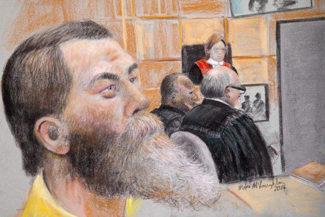 Un croquis d'Éric Daudelin réalisé à son procès... (Dessin Mike McLaughlin)