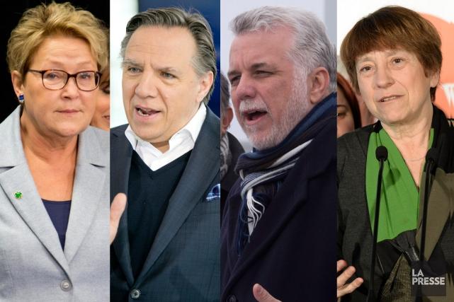 Les chefs des quatre principaux partis candidats aux... (Photomontage LaPresse.ca)