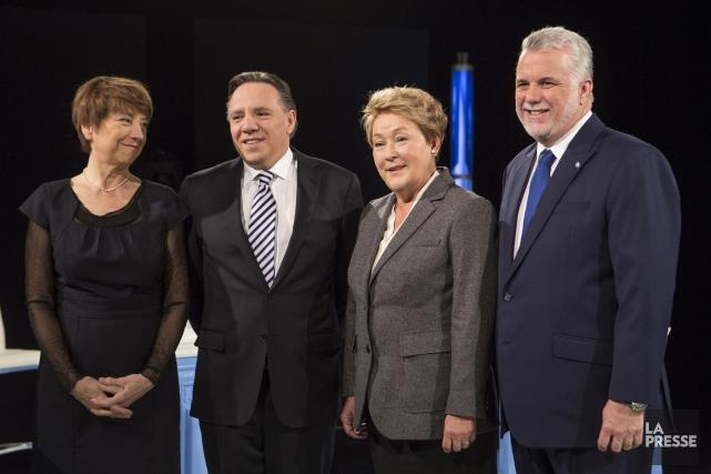 Les chefs des quatre principaux partis politiques qui... (Photo Olivier Pontbriand, La Presse)