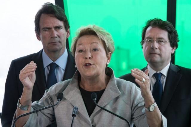 Pierre Karl Péladeau, Pauline Marois et Bernard Drainville.... (Photo La Presse Canadienne)