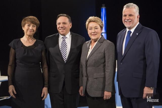 Les chefs des quatre principaux partis : Françoise... (Photo La Presse)