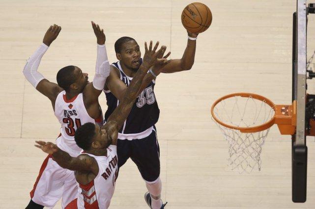 Oklahoma City, emmené par un Kevin Durant impressionnant, a arraché la victoire... (Photo USA Today Sports)
