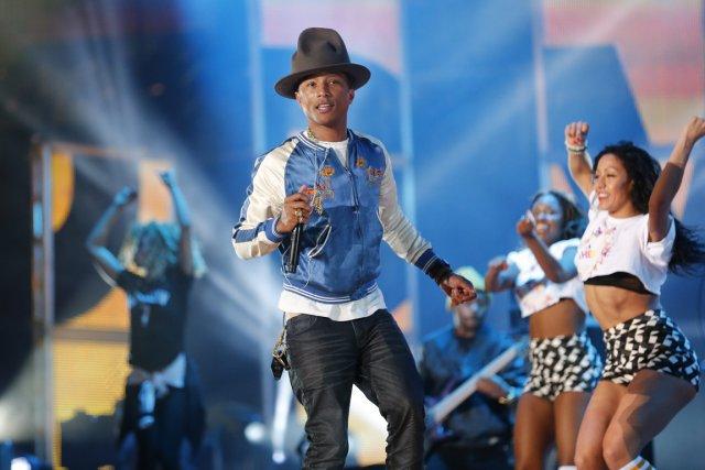 Le rappeur Pharrell Williams en répétition à La... (Photo Bill Haber, archives AP)