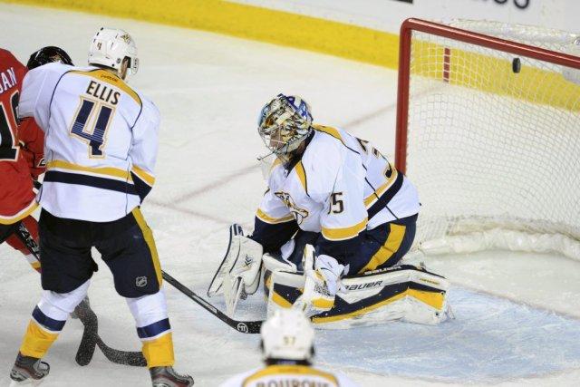 Pekka Rinne a réalisé 29 arrêts pour signer son premier jeu blanc en plus d'un... (Photo: Reuters)