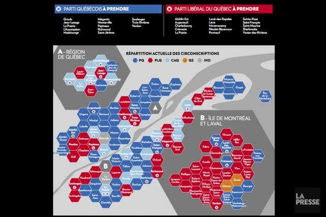 La forte baisse de la Coalition avenir Québec (CAQ) dans les sondages ouvre... (infographie La Presse)