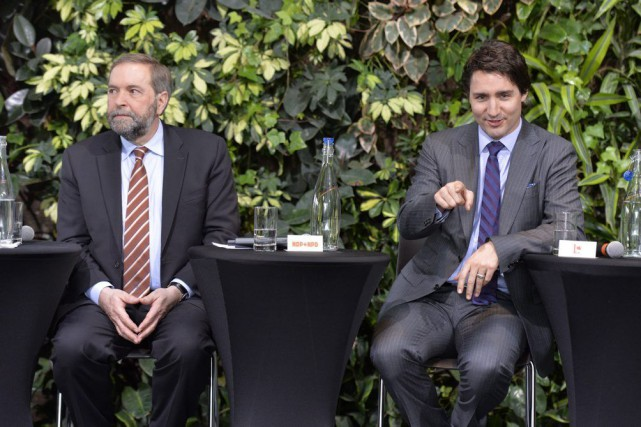 Thomas Mulcair et Justin Trudeau.... (PHOTO ARCHIVES LA PRESSE CANADIENNE)