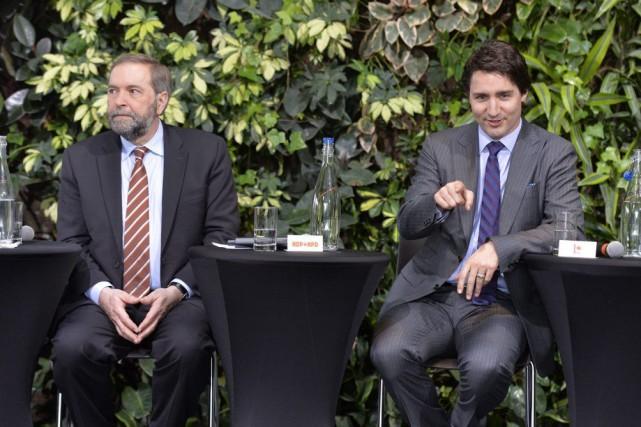 Tom Mulcair et Justin Trudeau.... (PHOTO ARCHIVES LA PRESSE CANADIENNE)