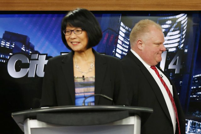 Olivia Chow et Rob Ford mercredi lors du... (Photo: Reuters)