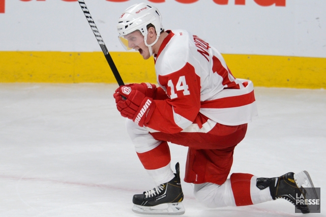L'attaquant des Red Wings Gustav Nyquist a marqué... (Photo Bernard Brault, archives La Presse)