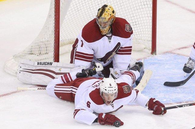 Mikkel Boedker a marqué sur la première tentative des Coyotes de Phoenix en... (Photo USA Today Sports)