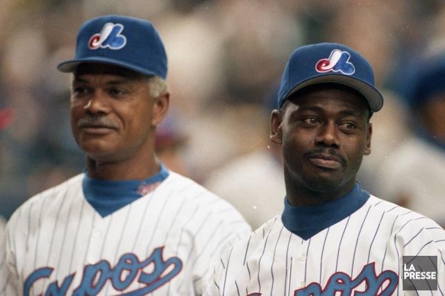 L'entraîneur Felipe Alou et Marquis Grissom, lors de... (PHOTO BERNARD BRAULT, ARCHIVES LA PRESSE)