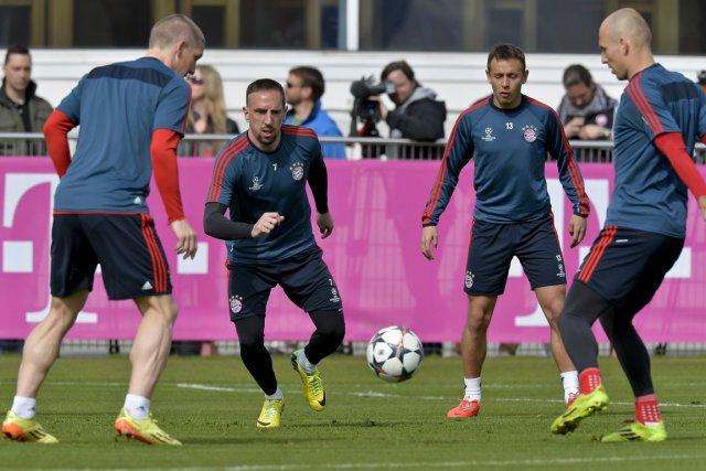 Bastian Schweinsteiger, Franck Ribéry, Rafinha et Arjen Robben,... (Photo Guenter Schiffmann, AFP)