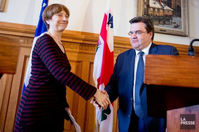 Françoise David a rencontré le maire de Montréal... (Photo Marco Campanozzi, La Presse)