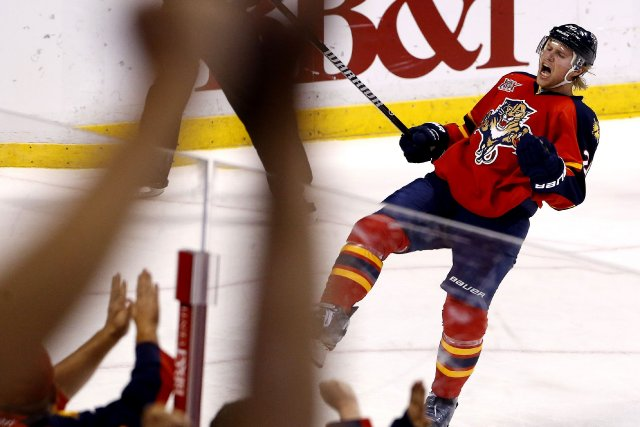 Sean Bergenheim des Panthers après un but... (Photo Robert Mayer, USA Today Sports)