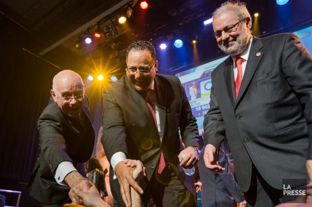 Jacques Daoust, Saul Polo et Pierre Arcand célèbrent... (Photo Edouard Plante-Fréchette, La Presse)