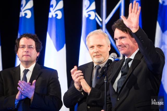 Bernard Drainville, Jean-François Lisée et Pierre Karl Péladeau.... (Photo Olivier PontBriand, La Presse)