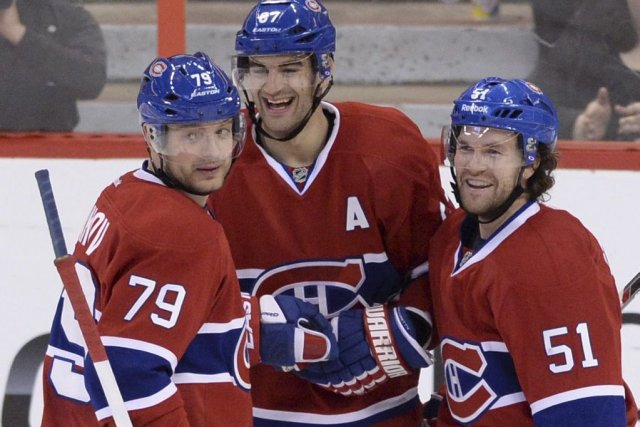 Andrei Markov, Max Pacioretty et David Desharnais.... (Photo La Presse Canadienne)