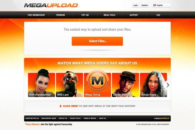 Le site Megaupload, avant sa fermeture....