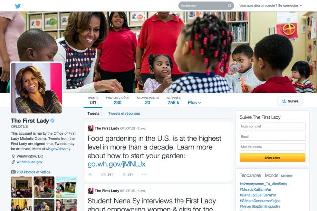 La page Twitter de Michelle Obama... (Capture d'écran)
