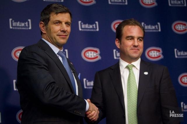 Marc Bergevin et Geoff Molson... (Photo André Pichette, La Presse)