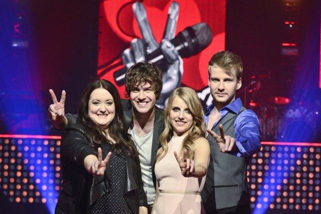 Les quatre finalistes de La voix, Renée, Rémi,... (Photo: Joël Lemay, Agence QMI)