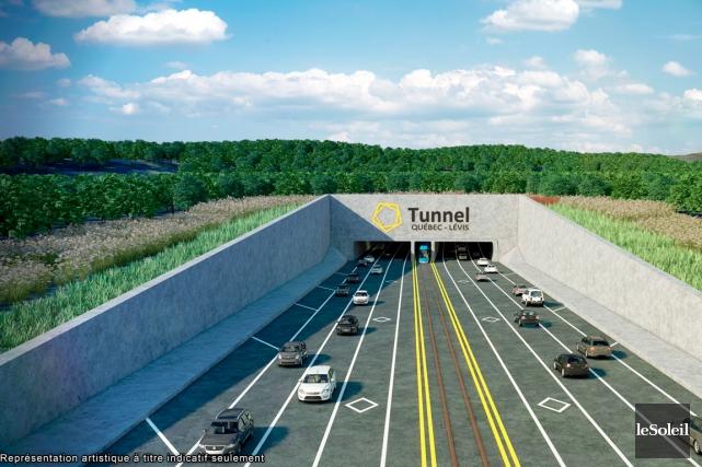Le tracé d'un éventuel tunnel sous-fluvial Québec-Lévis... (Photothèque Le Soleil)