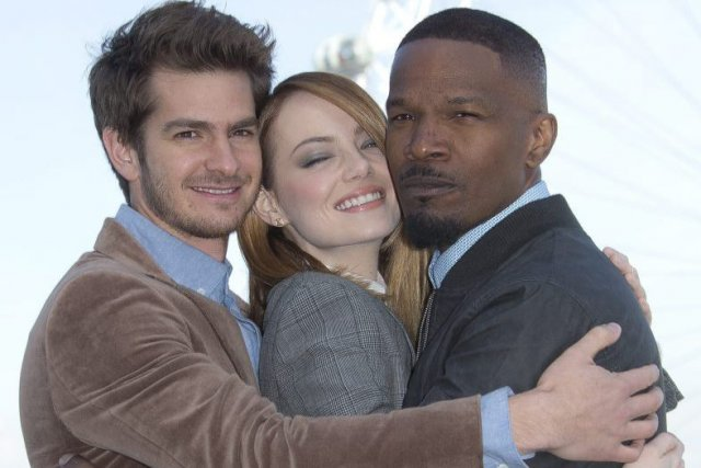 Andrew Garfield, Emma Stone et Jamie Foxx, vedettes... (Photo: archives AP)
