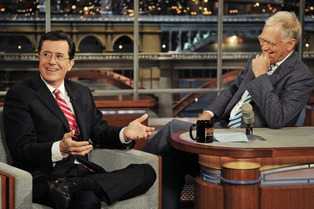 Stephen Colbert sur le lateau du Late Show... (John Paul Filo, archives AP)