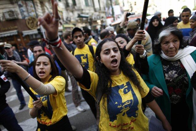 Une manifestation en Égypte contre les violences sexuelles... (Photo MAHMUD KHALED, AFP)